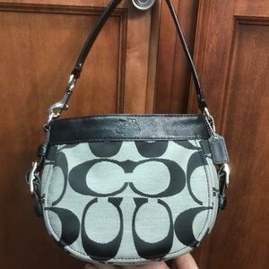 Authentic Black and Grey Small Coach Handbag